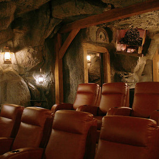 75 Beautiful Rustic Home Theater Pictures & Ideas | Houzz on rustic industrial interior design, rustic teenage bedrooms, rustic minimalist interior, rustic and natural landscaping, rustic furniture, rustic style homes, kitchen design ideas, fireplace in living rooms ideas, rustic industrial living room, rustic country homes, prairie style interior design ideas, rustic wedding decorations for lanterns, northwoods decorating ideas, art deco design ideas, bungalow design ideas, garage/shop design ideas, rustic modern barn house, rustic old stone walls, rustic pool house designs, rustic bedroom interior design,