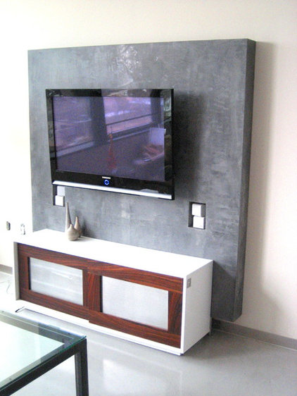 modern media room Minimalist Entertainment unit