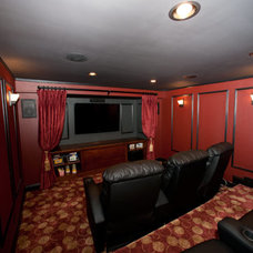 Traditional Home Theater by Fischer Homes, Ltd.