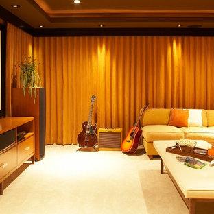 На фото: домашние кинотеатры в стиле модернизм
