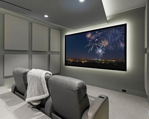 Delicieux Inspiration For A Contemporary Enclosed Carpeted And Gray Floor Home Theater  Remodel In Miami With Gray