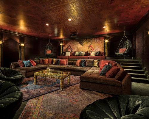 salle de cin ma asiatique avec un mur rouge photos et id es d co de salles de cin ma. Black Bedroom Furniture Sets. Home Design Ideas