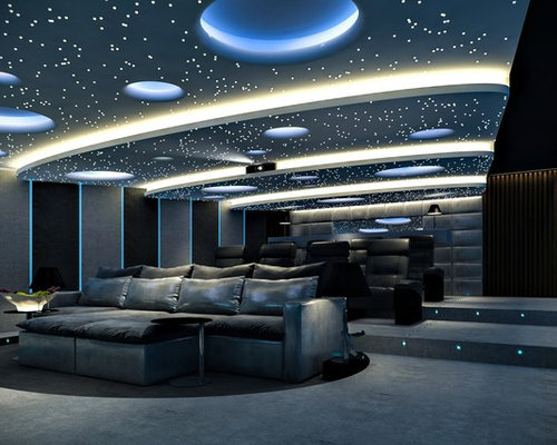 huge minimalist enclosed home theater photo in other with a projector screen - Modern Home Theater