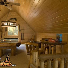 Rustic Home Theater by Golden Eagle Log Homes