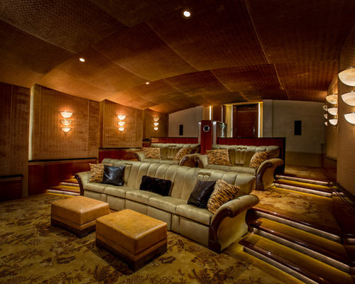 Mediterranean Home Theater Design Ideas Remodels Photos Houzz