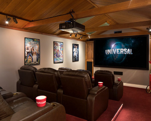Home Theater   Large Mediterranean Enclosed Carpeted And Red Floor Home Theater  Idea In San Francisco