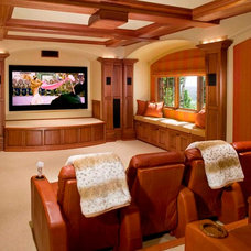 Rustic Home Theater by TKP Architects