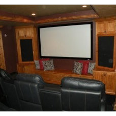 Traditional Home Theater by Canyon River Homes