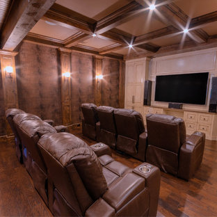Home theater - large rustic home theater idea in Atlanta