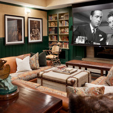 Rustic Home Theater by S. B. Long Interiors