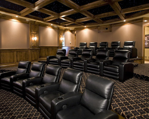 Elegant enclosed carpeted and multicolored floor home theater photo in  Minneapolis