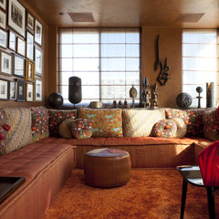eclectic media room by interieurs By Francine Gardner