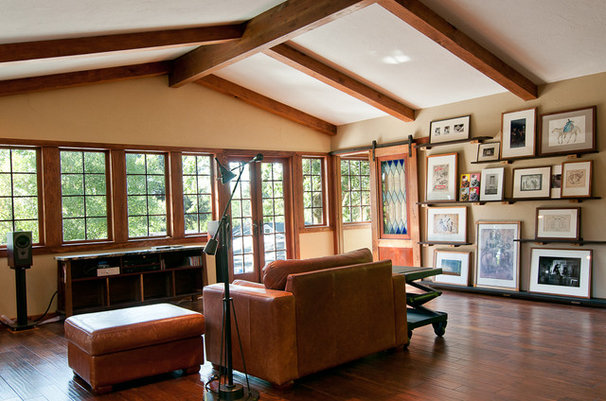 Traditional Home Theater by Louise Lakier