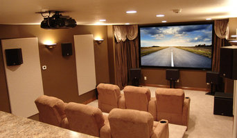 Neutral Transitional Home Theater with Bar