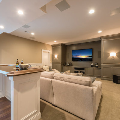 Inspiration for a transitional home theater remodel in Cincinnati