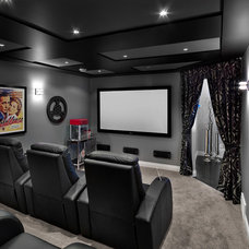 Transitional Home Theater by Kimberley Homes