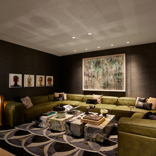 Home theater - contemporary home theater idea in New York