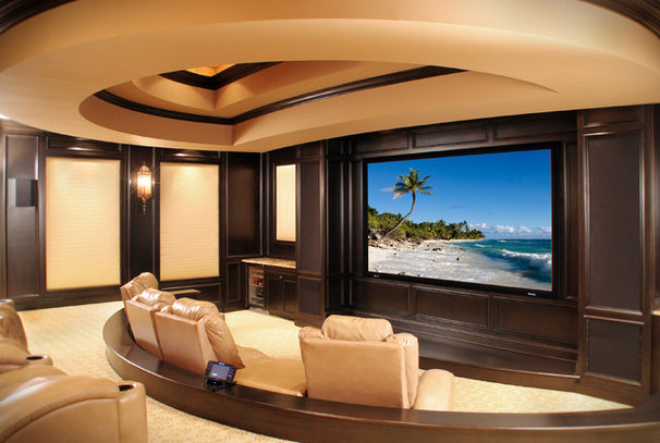 Mediterranean Home Theater by Palmieri Builders