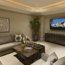 Traditional Home Theater by Frankel Building Group
