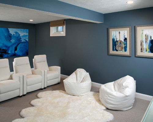 inspiration for a timeless enclosed carpeted and gray floor home theater remodel in boston with blue