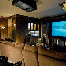Mediterranean Home Theater by STUDIO MB