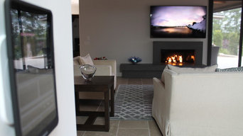 On-wall iPad universal remote to control TV and fireplace - Rancho Santa Fe