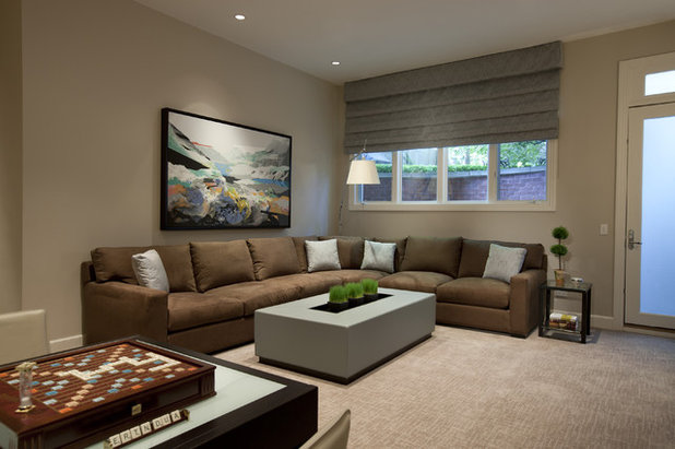 Contemporary Home Theater by Michael Abrams Interiors