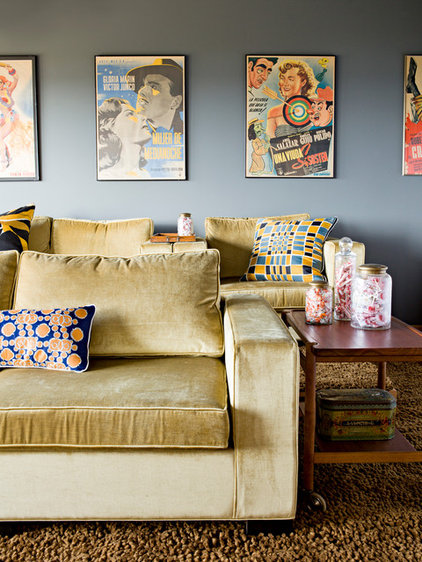 Contemporary Home Theater by Jessica Helgerson Interior Design