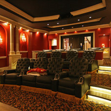 Eclectic Home Theater by Charles Cudd De Novo, LLC