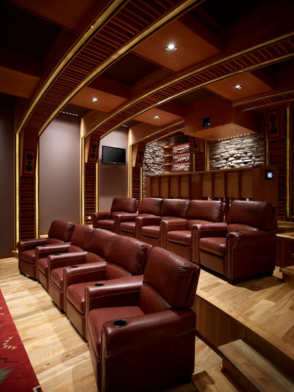 Southwestern Home Theater by Harvest House Craftsmen
