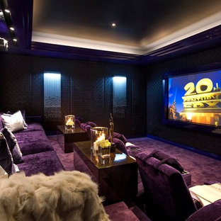 Inspiration for a large contemporary enclosed home theatre in Miami with brown walls, carpet, a projector screen and purple floor.