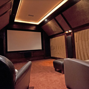 Example of a mountain style home theater design in Other