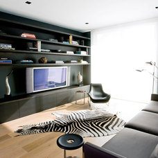 Modern Home Theater by NICOLEHOLLIS