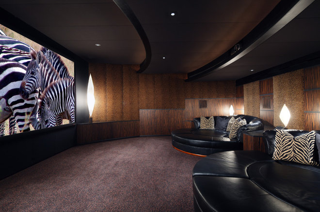 Contemporary Home Theater by Deep River Partners
