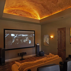 mediterranean media room by Vanguard Studio Inc.