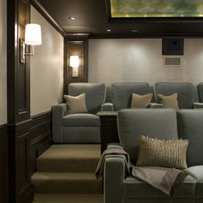 Transitional Home Theater by CMR Interiors & Design Consultations Inc.