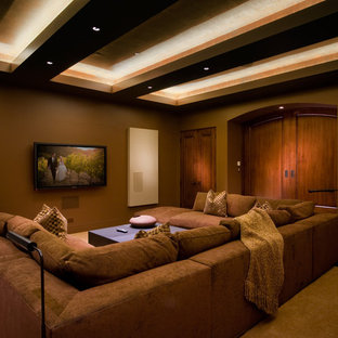 Example of a classic brown floor home theater design in San Francisco