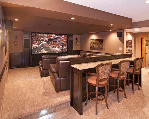 Example Of A Large Classic Enclosed Carpeted Home Theater Design In  Minneapolis With Brown Walls And