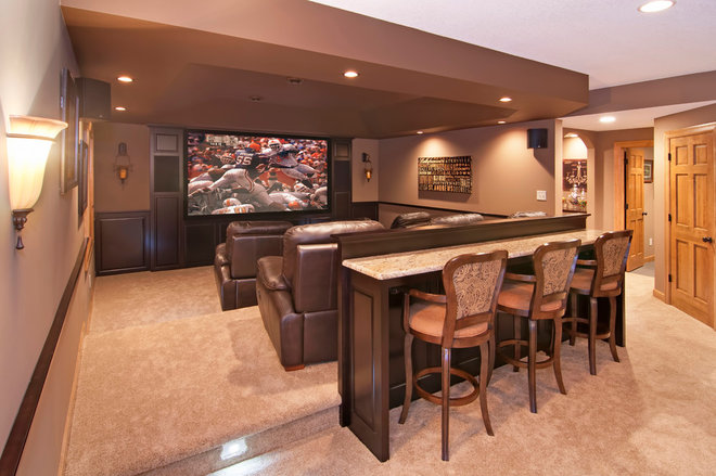 Traditional Home Theater by College City Design Build