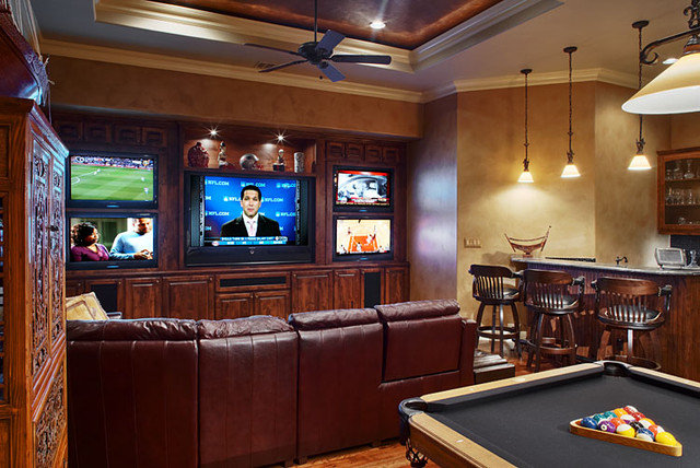 Traditional Home Theater by Sterling Custom Homes