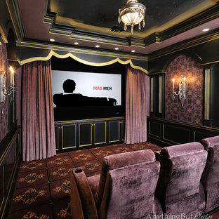 Inspiration for a timeless home theater remodel in Houston