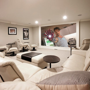 Transitional home theater photo in Detroit
