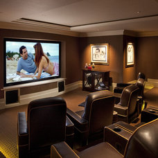 Traditional Home Theater by Jennifer Bevan Interiors