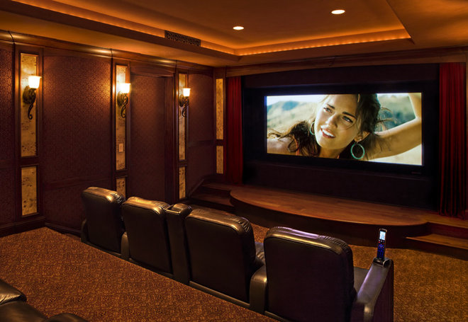 Eclectic Home Theater by Friehauf Architects Inc.