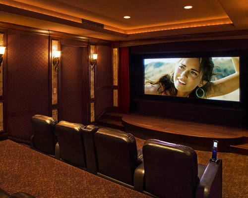 theater room wall sconces home design ideas pictures remodel and decor. Black Bedroom Furniture Sets. Home Design Ideas