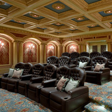 Mediterranean Home Theater by John Cannon Homes