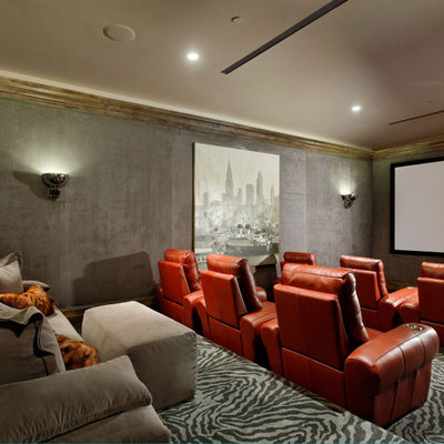 Inspiration for a transitional enclosed carpeted and multicolored floor home theater remodel in Denver with gray walls and a projector screen