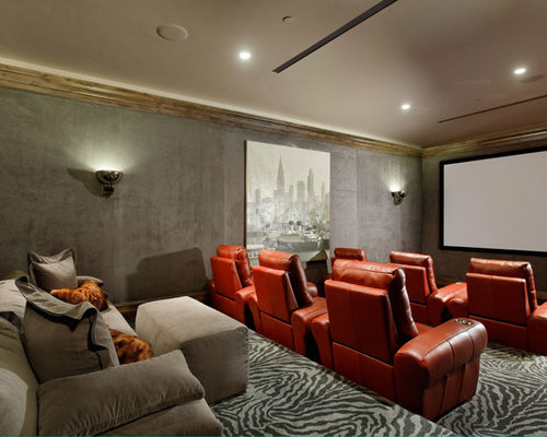 Inspiration For A Transitional Enclosed Home Theater Remodel In Denver With  Gray Walls, Carpet, Part 94