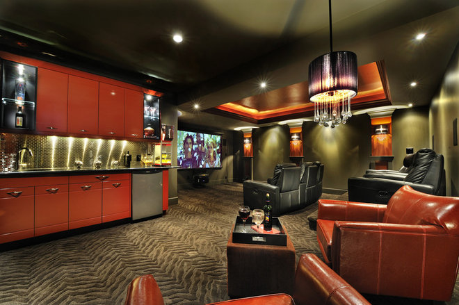 Contemporary Home Theater by Greystokes Millwork Ltd.