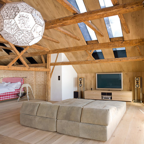 Home Theater   Mid Sized Rustic Open Concept Light Wood Floor Home Theater  Idea In